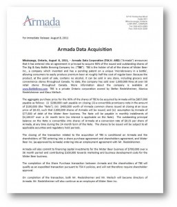 Armada Data Acquisition Press Release - August-8-11